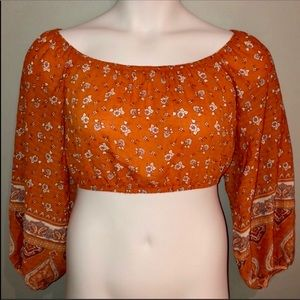 NWT Forever 21 Boho Orange Floral Woven Crop Top M